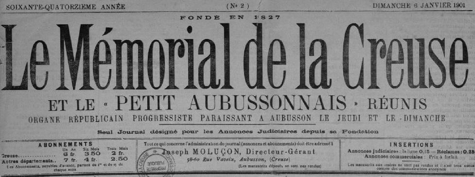 Photo (Creuse. Archives départementales) de : Le Mémorial de la Creuse et le Petit Aubussonnais réunis. Aubusson, 1898-1944. ISSN 2132-0039.