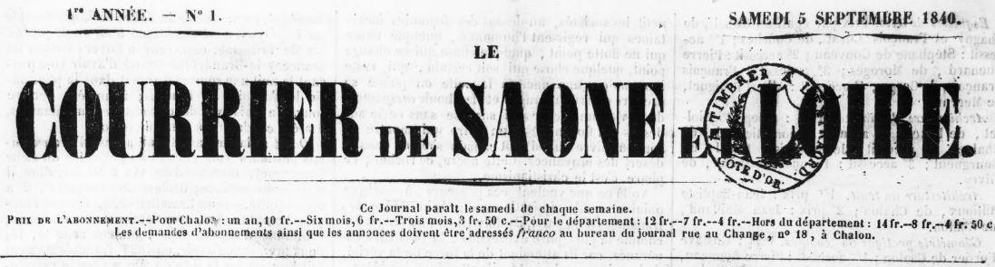 Photo (BnF / Gallica) de : Le Courrier de Saône-et-Loire. Chalon-sur-Saône, 1840-1947. ISSN 0247-2732.