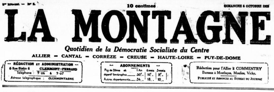 Photo (Bibliothèque du patrimoine de Clermont Auvergne métropole) de : La Montagne. Clermont-Ferrand, 1919-2008. ISSN 0767-4007.