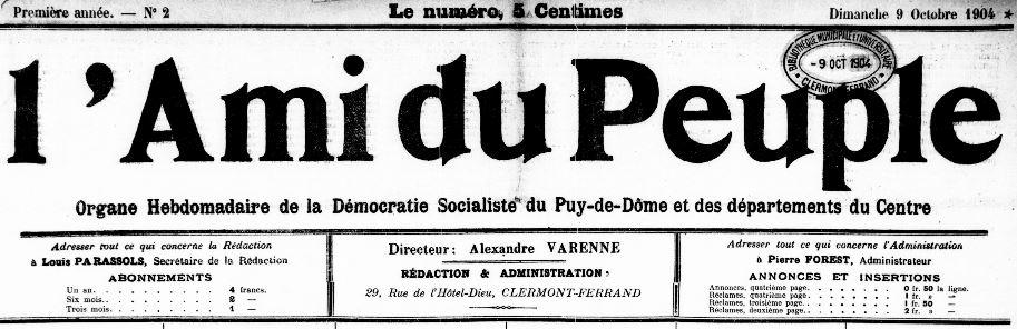 Photo (Bibliothèque du patrimoine de Clermont Auvergne métropole) de : L'Ami du peuple. Clermont-Ferrand, 1904-1919. ISSN 1150-093X.
