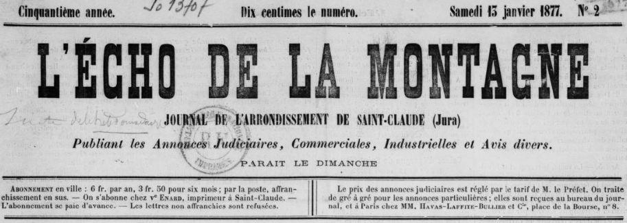 Photo (BnF / Gallica) de : L'Écho de la montagne. Saint-Claude, 1877-1944. ISSN 1259-1998.