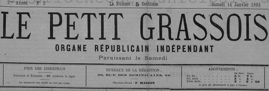 Photo (Bibliothèque municipale (Grasse, Alpes-Maritimes)) de : Le Petit Grassois. Grasse, 1892-1893. ISSN 2134-1710.