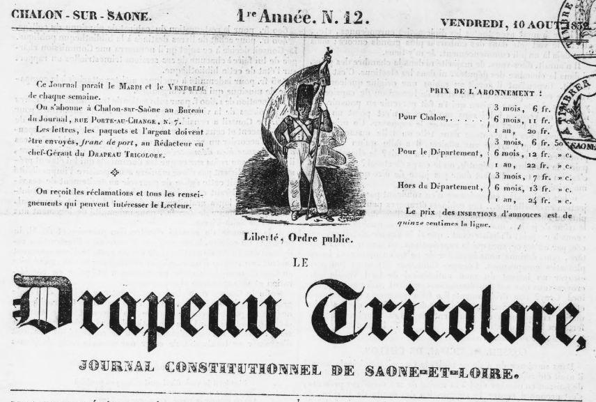 Photo (BnF / Gallica) de : Le Drapeau tricolore. Chalon-sur-Saône, 1832-1840. ISSN 1770-684X.