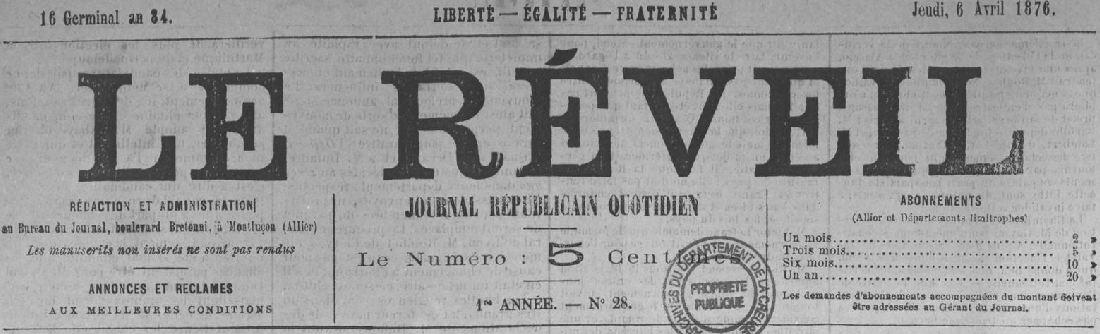 Photo (Creuse. Archives départementales) de : Le Réveil. Montluçon, 1876. ISSN 2136-6632.