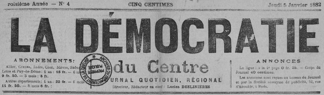 Photo (Creuse. Archives départementales) de : La Démocratie du Centre. Montluçon, 1881-1903. ISSN 1960-5641.