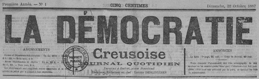 Photo (Creuse. Archives départementales) de : La Démocratie creusoise. Montluçon, Guéret, 1882-1885. ISSN 1960-565X.