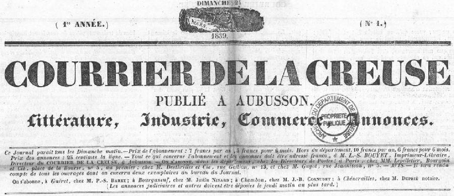 Photo (Creuse. Archives départementales) de : Courrier de la Creuse. Aubusson, 1839. ISSN 1964-0722.