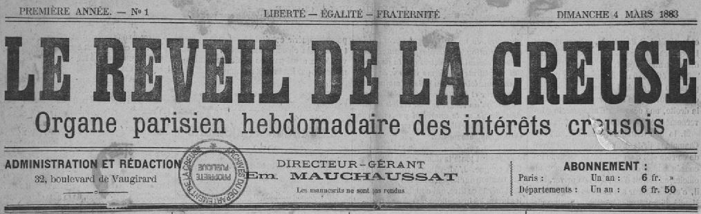 Photo (Creuse. Archives départementales) de : Le Réveil de la Creuse. Paris, 1883-1884. ISSN 1964-0757.
