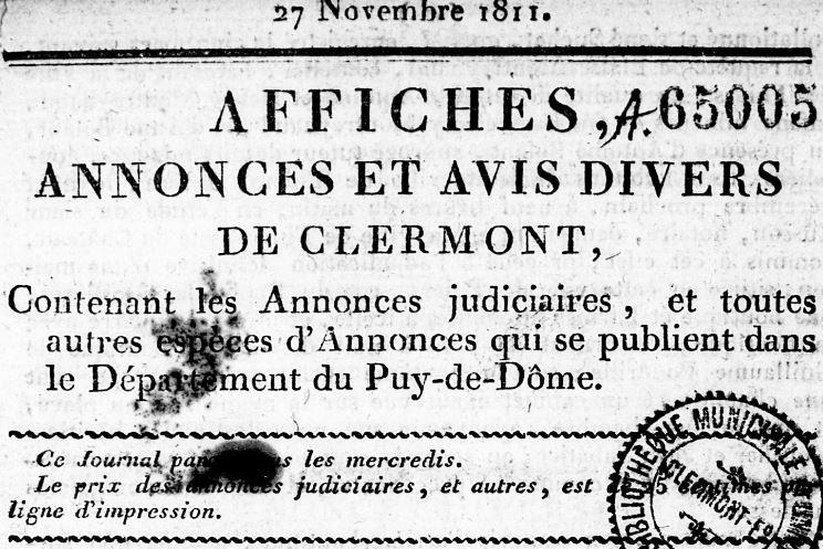 Photo (Bibliothèque du patrimoine de Clermont Auvergne métropole) de : Affiches, annonces et avis divers de Clermont. Clermont-Ferrand, 1811-1816. ISSN 1965-5576.