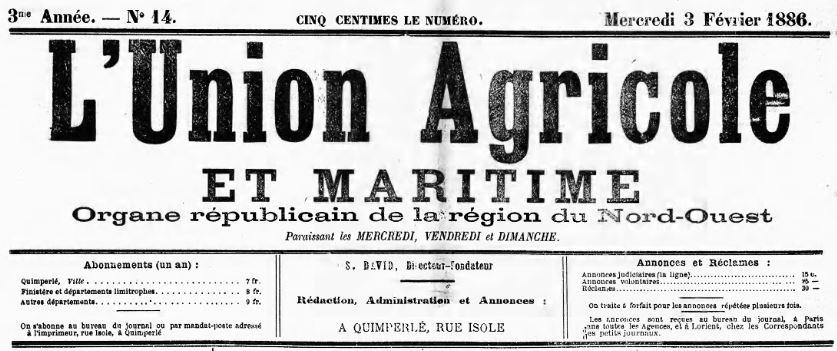 Photo (Finistère. Archives départementales) de : L'Union agricole et maritime. Quimperlé, 1886-1942. ISSN 2106-5667.