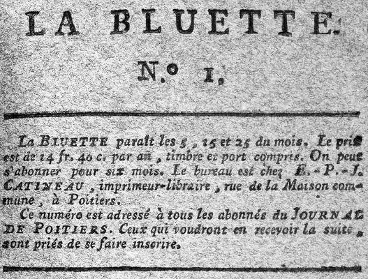 Photo (Médiathèque François-Mitterrand (Poitiers)) de : La Bluette. A Poitiers: de l'Impr. de Catineau, [1800]. ISSN 2430-9362.