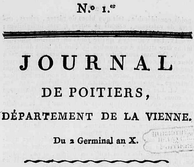 Photo (Médiathèque François-Mitterrand (Poitiers)) de : Journal de Poitiers, département de la Vienne. A Poitiers: de l'Imprimerie de Catineau, [1802]-1811. ISSN 2430-9389.