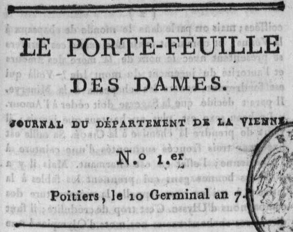 Photo (Médiathèque François-Mitterrand (Poitiers)) de : Le Porte-feuille des dames. A Poitiers: chez Catineau, imprimeur-libraire, [1799-1800]. ISSN 2430-9524.