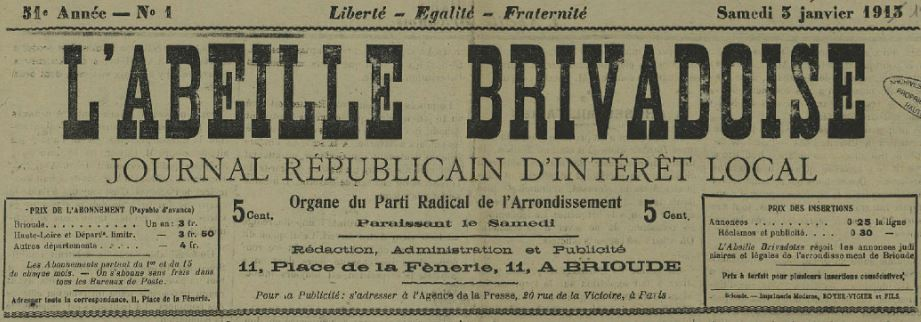 Photo (Haute-Loire. Archives départementales) de : L'Abeille brivadoise. Brioude, 1865-1944. ISSN 2022-902X.
