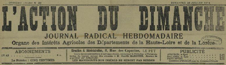 Photo (Haute-Loire. Archives départementales) de : L'Action du dimanche. Le Puy, 1904-1922. ISSN 2120-1285.