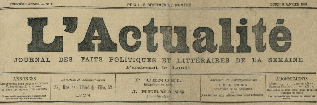 Photo (Bibliothèque municipale (Lyon)) de : L'Actualité. Lyon, Paris, Marseille, 1883. ISSN 1958-4865.