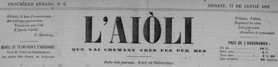 Photo (Centre interrégional de développement de l'occitan (Béziers, Hérault)) de : L'Aiòli. Avignoun: F. de Baroncelli, 1891-1932. ISSN 2015-6367.