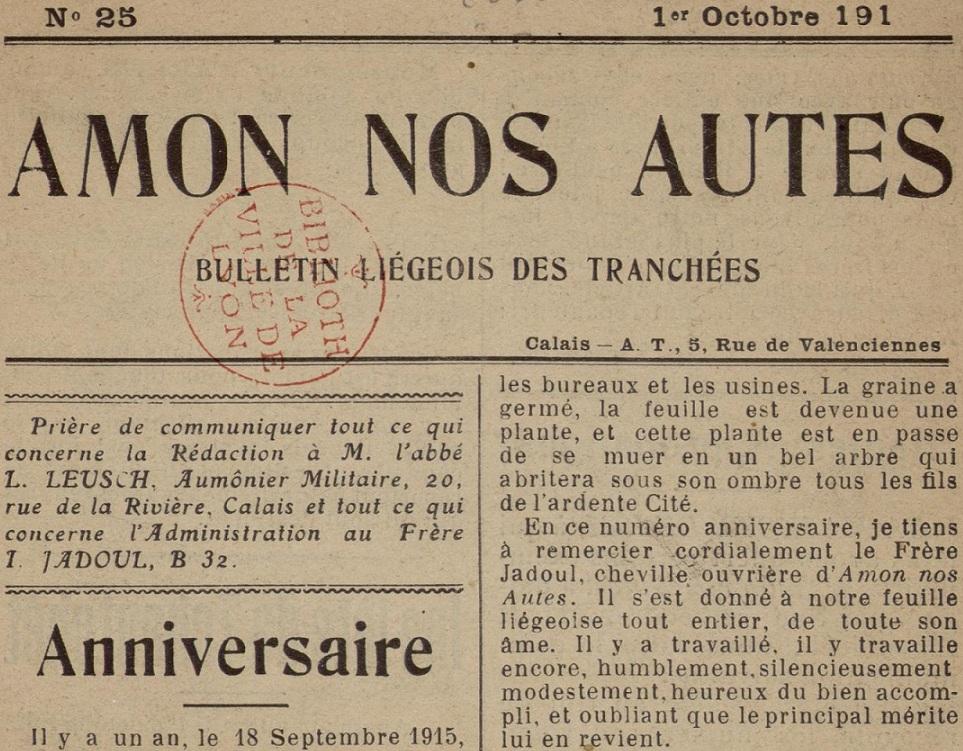 Photo (Bibliothèque municipale (Lyon)) de : Amon nos autes. Calais, [1914 ?]-1918. ISSN 2494-2308.