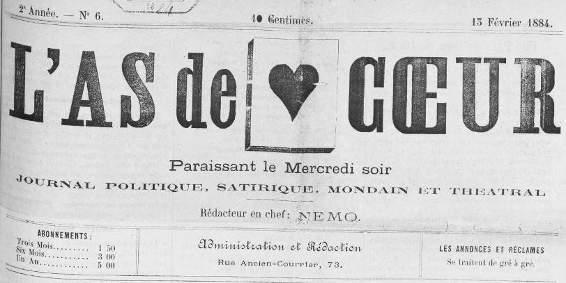 Photo (Occitanie) de : L'As de cœur. Narbonne, [1883 ?]-1884. ISSN 2121-0438.