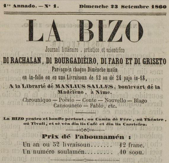 Photo (Centre interrégional de développement de l'occitan (Béziers, Hérault)) de : La Bizo. Nimé: Librarié dé Manlius Salles, 1860-[1861 ?]. ISSN 2016-1492.