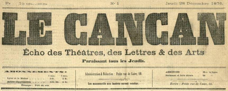 Photo (Bibliothèque municipale (Lyon)) de : Le Cancan. Lyon, 1876-1877. ISSN 2431-1103.