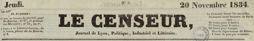 Photo (Bibliothèque municipale (Lyon)) de : Le Censeur. Lyon, 1834-1849. ISSN 2019-5486.