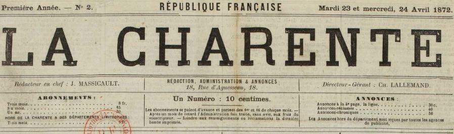 Photo (BnF / Gallica) de : La Charente. Angoulême, 1872-1941. ISSN 1273-9324.