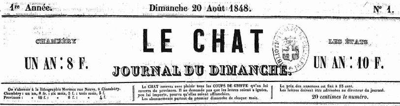Photo (Auvergne-Rhône-Alpes livre et lecture) de : Le Chat. Chambéry, 1848-1849. ISSN 2123-6755.