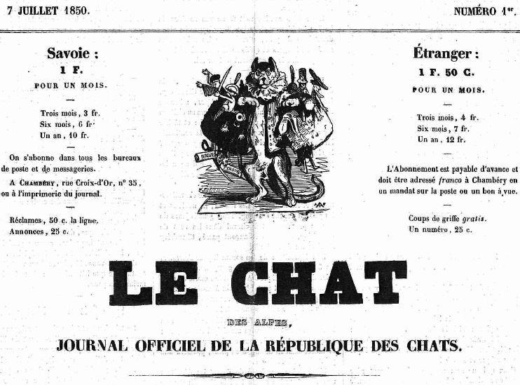 Photo (Auvergne-Rhône-Alpes livre et lecture) de : Le Chat des Alpes. Chambéry, 1850-[1853 ?]. ISSN 2123-6801.
