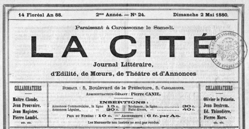 Photo (Occitanie) de : La Cité. Carcassonne, 1879-1883. ISSN 2123-9193.