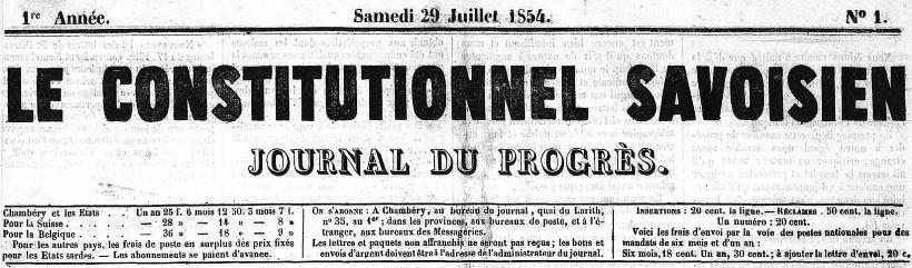 Photo (Auvergne-Rhône-Alpes livre et lecture) de : Le Constitutionnel savoisien. Chambéry, 1854-1857. ISSN 2124-3891.