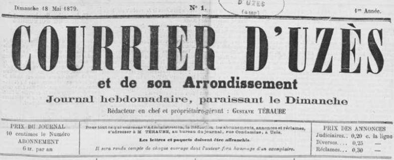 Photo (Occitanie) de : Courrier d'Uzès et de son arrondissement. Uzès, 1879-[1880 ?]. ISSN 2124-6750.