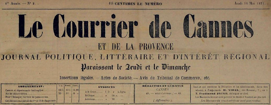 Photo (Cannes (Alpes-Maritimes). Archives municipales) de : Le Courrier de Cannes et de la Provence. Cannes, 1871-1914. ISSN 2124-6920.