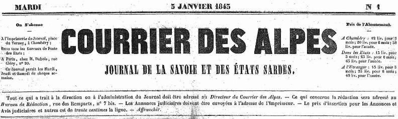 Photo (Auvergne-Rhône-Alpes livre et lecture) de : Courrier des Alpes. Chambéry, 1843-1903. ISSN 2124-832X.