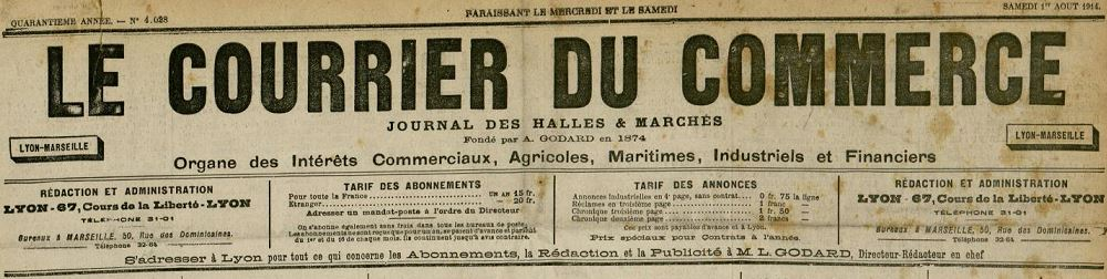 Photo (Bibliothèque municipale (Lyon)) de : Courrier du commerce. Lyon, 1875-[1966 ?]. ISSN 2019-5699.