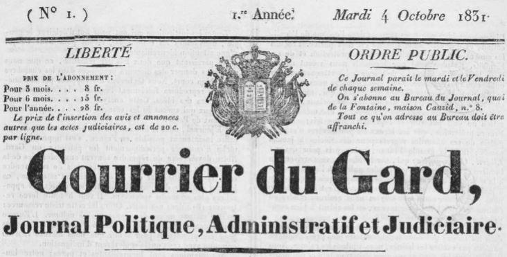 Photo (Occitanie) de : Le Courrier du Gard. Nîmes: [s.n], 1831-1873. ISSN 2021-5282.