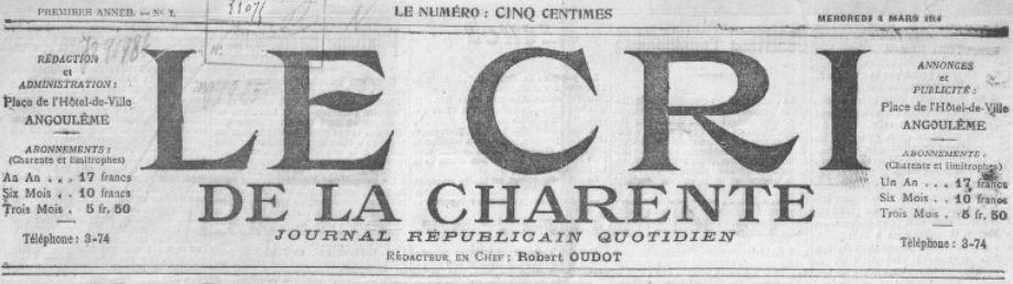 Photo (BnF / Gallica) de : Le Cri de la Charente. Angoulême, 1914-[1930 ?]. ISSN 2107-7819.