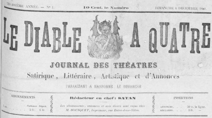 Photo (Occitanie) de : Le Diable à quatre. Narbonne, 1879-1881. ISSN 2125-8643.