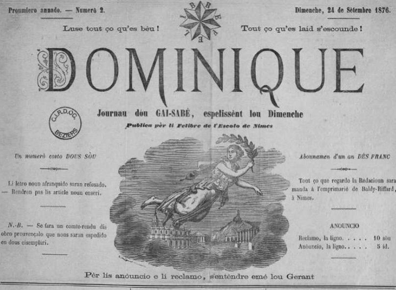 Photo (Occitanie) de : Dominique. Nimes, 1876-1877. ISSN 1155-9799.