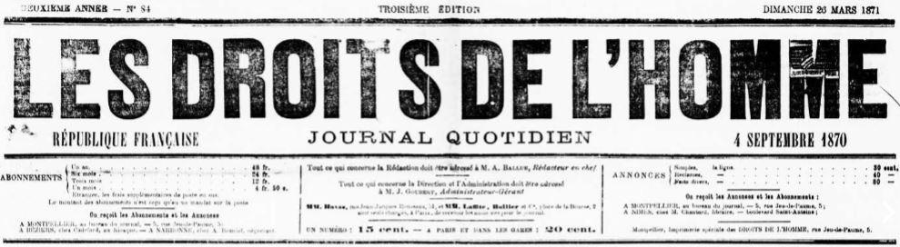 Photo (Occitanie) de : Les Droits de l'homme. Montpellier, [1870 ?-1871 ?]. ISSN 2126-015X.
