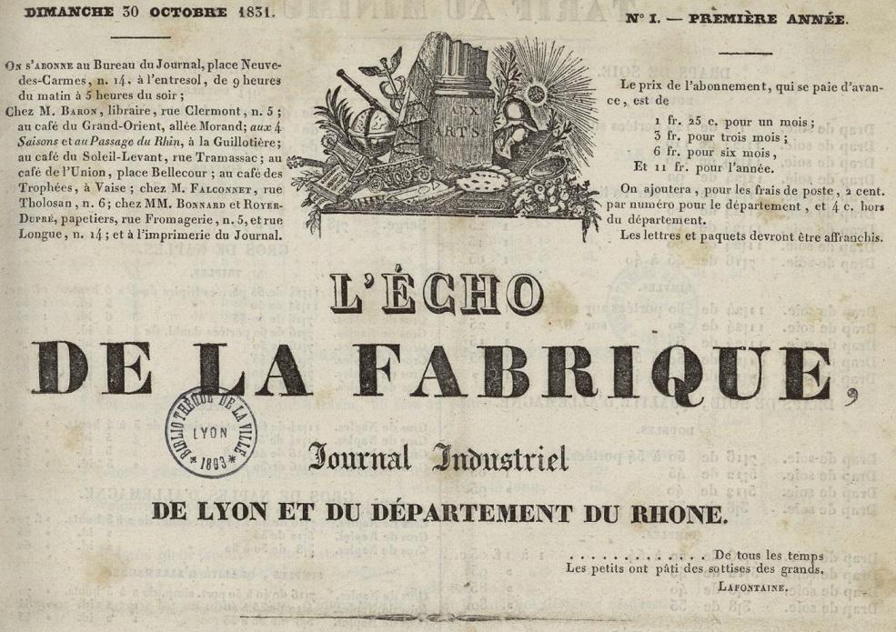 Photo (Bibliothèque municipale (Lyon)) de : L'Écho de la fabrique. Lyon: Imprimerie de Charvin, 1831-1834. ISSN 1770-6904.