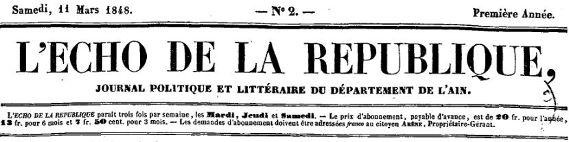 Photo (Auvergne-Rhône-Alpes livre et lecture) de : L'Écho de la République. Nantua: Arène, propriétaire-gérant, 1848-1849. ISSN 2126-3124.
