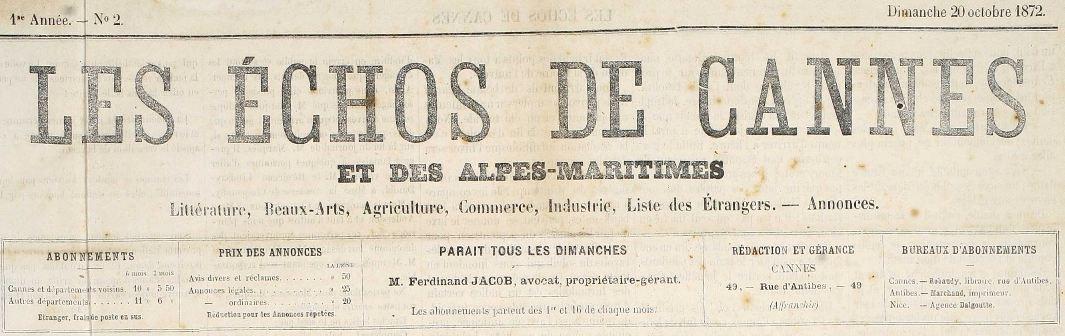Photo (Cannes (Alpes-Maritimes). Archives municipales) de : Les Échos de Cannes et des Alpes-Maritimes. Cannes, 1872-1892. ISSN 2126-824X.