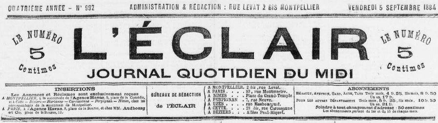 Photo (Occitanie) de : L'Éclair. Montpellier, 1881-1944. ISSN 2024-1038.