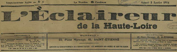 Photo (Haute-Loire. Archives départementales) de : L'Éclaireur de la Haute-Loire. Saint-Étienne, [1896 ?]-1914. ISSN 2126-9475.