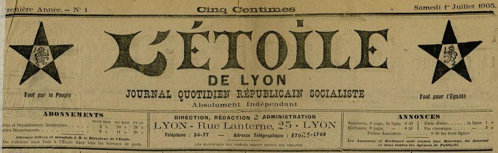 Photo (Bibliothèque municipale (Lyon)) de : L'Étoile de Lyon. Lyon, 1905-[1910 ?]. ISSN 2127-5475.