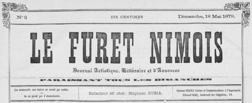Photo (Occitanie) de : Le Furet nîmois. Nîmes, 1879-1895. ISSN 2128-4229.