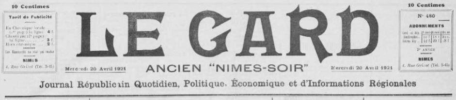 Photo (Occitanie) de : Le Gard. Nîmes, 1921-1922. ISSN 2128-4555.