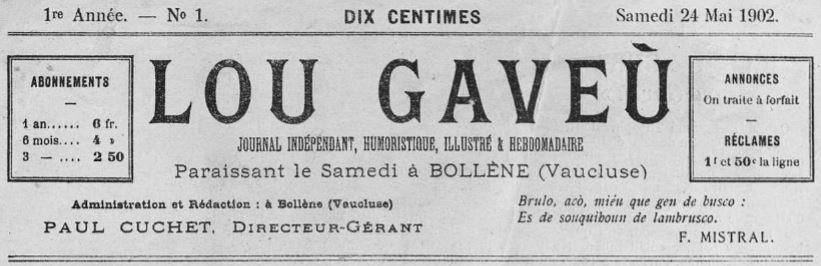 Photo (Occitanie) de : Lou Gaveù. Bollène, 1902. ISSN 2022-737X.