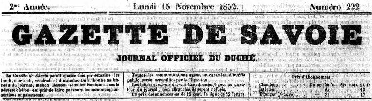 Photo (Auvergne-Rhône-Alpes livre et lecture) de : Gazette de Savoie. Chambéry, 1852-[1862 ?]. ISSN 2128-6787.
